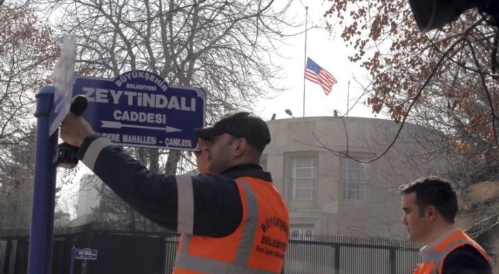터키, 미국대사관 거리 이름 '올리브 가지'로 변경
